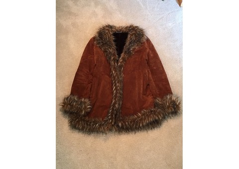 Wilson Leather Genuine Suede Leather Coat with Faux Fur Trim