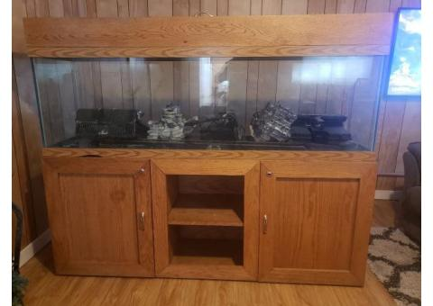 125 Gallon Fish Tank Aquarium with Custom Built Oak Stand
